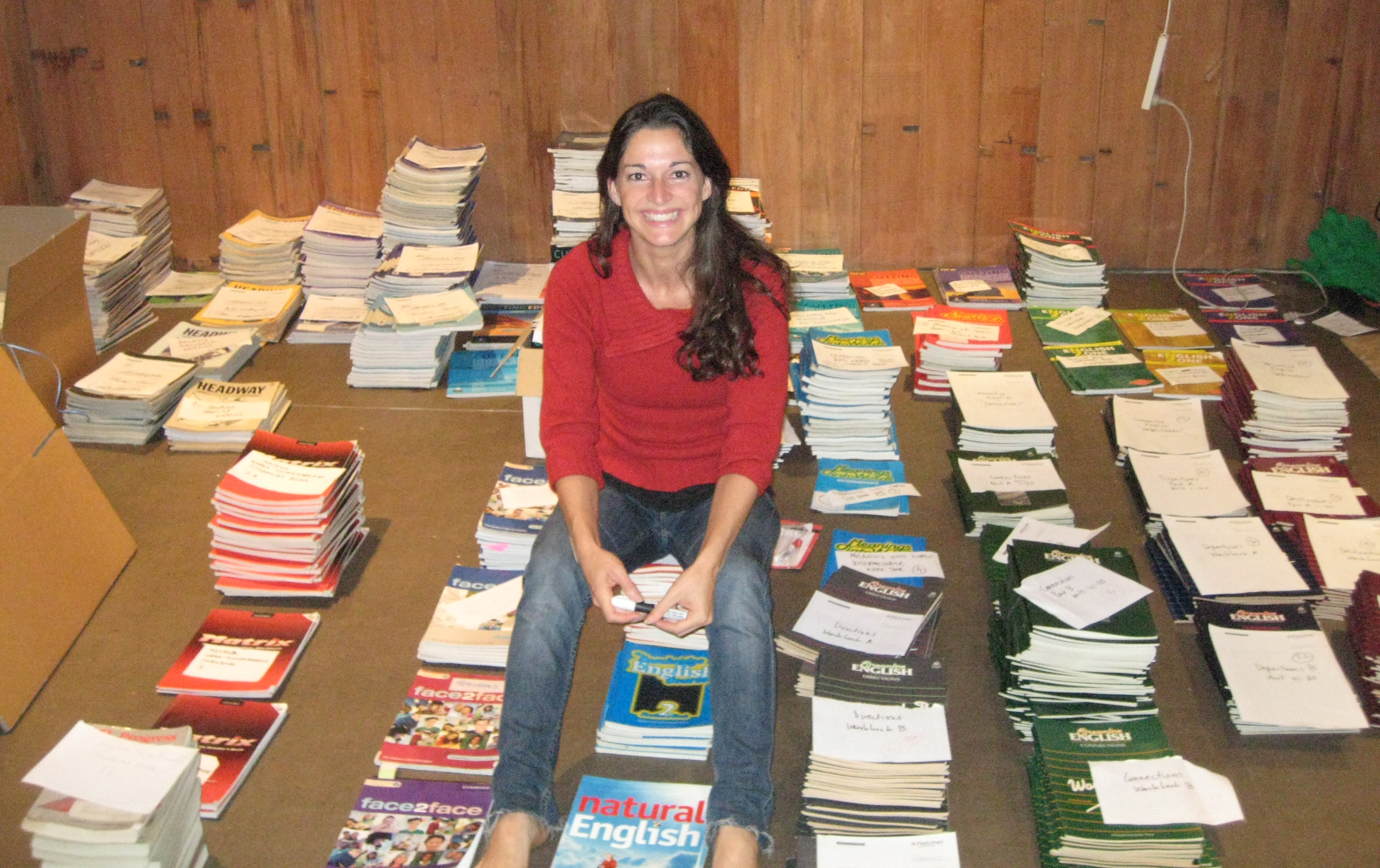 Rowena-with-the-donated-books